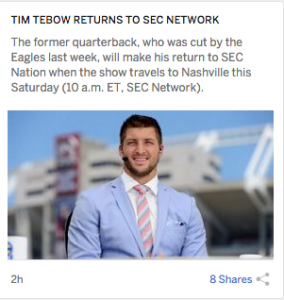 tebow on espn homepage