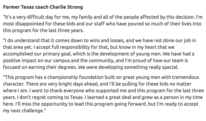 Charlie Strong Statement